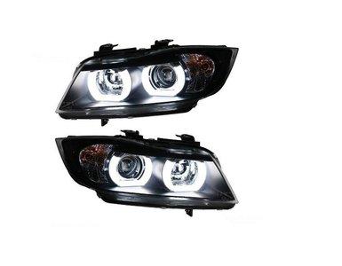 BMW 3 serie E90 en E91 angel eyes koplampen wit CCFL DTM style