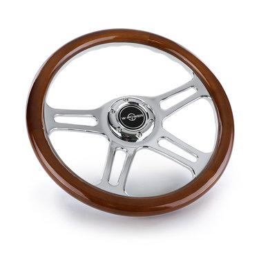 Classic sport stuur hout / chroom
