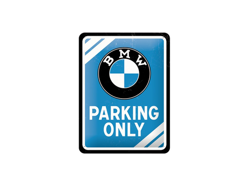 BMW Parking Only Sign blauw 15 cm x 20 cm