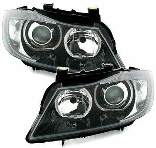 BMW 3 serie E90 en E91 halogeen F30 look koplampen met angel eyes
